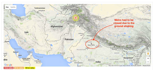 Earthquake in Pakistan on April 10 2016 03:41 PM (UTC).