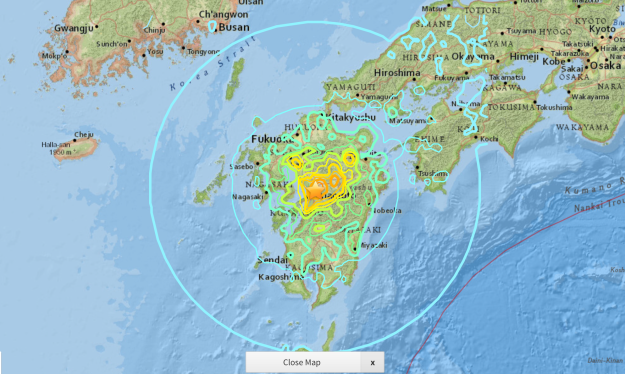 Japan M7.0 earthquake 15/04/2016